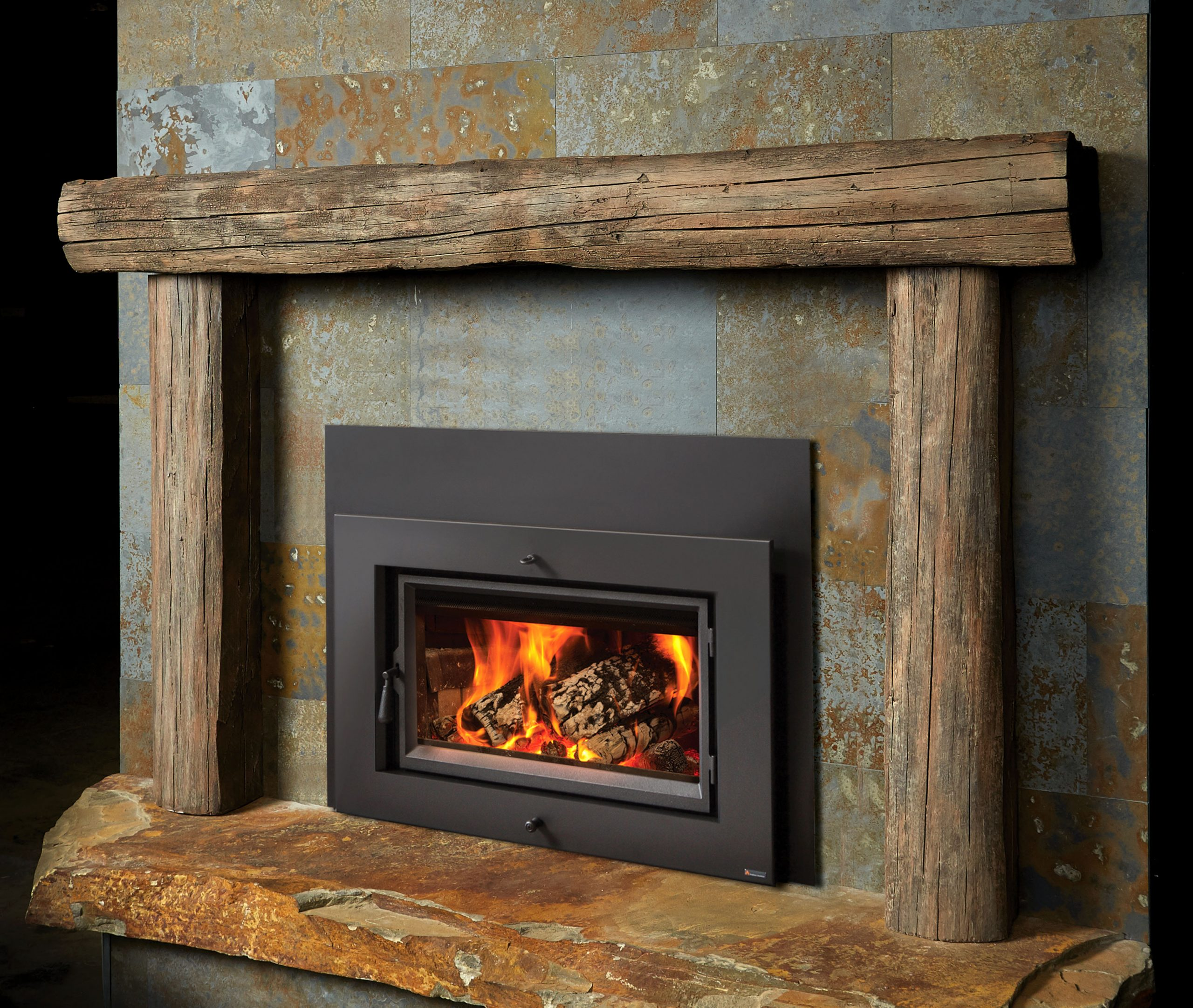 Hewn Timber Concrete Mantel & Legs