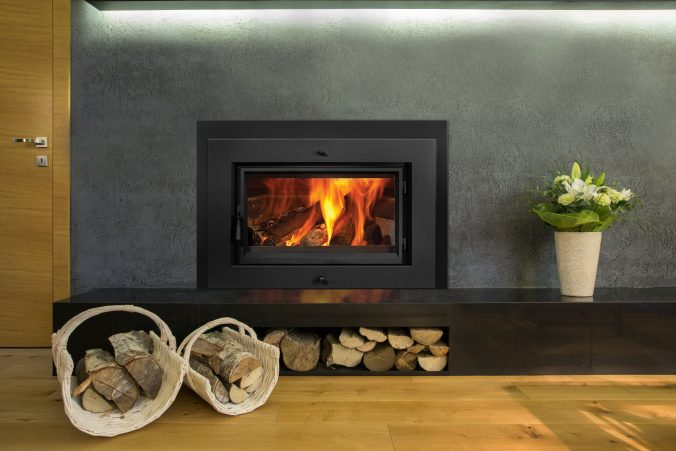 Fireplace with wood stocks